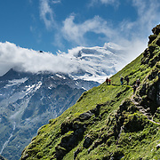 Grand Combin Massif, Sentier des Chamois trail, Verbier, Switzerland, Alps, Europe. Hike the dramatic Sentier des Chamois from Verbier, in Switzerland, the Alps, Europe. The Chamois Path starts at La Chaux ski lift and ends at Fionnay PostBus. Cross Col Termin (2648m/8688 ft) in Haut Val de Bagnes nature reserve and descend to Lake Louvie via 1800s stone barns to the north, then to Fionnay (640 m up, 1415 m down in 8.5 hours). Optionally stay overnight in dorms Cabane de Louvie.