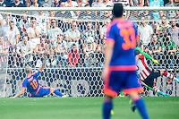 EINDHOVEN - PSV - Feyenoord , Voetbal , Seizoen 2015/2016 , Eredivisie , Philips Stadion , 30-08-2015 , PSV speler Jeffrey Bruma (r) scoort de 0-1 (eigen doelpunt) terwijl Speler van Feyenoord Lex Immers inglijd om hem binnen te tikken