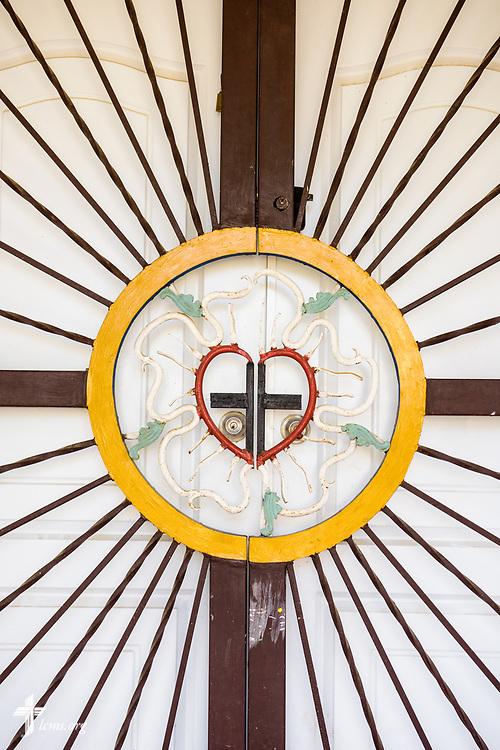 The entrance to Amigos de Cristo Iglesia Luterana in Las Americas (Friends of Christ Lutheran Church in the Americas) on Saturday, March 18, 2017, in Santo Domingo. LCMS Communications/Erik M. Lunsford