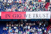 """ROTTERDAM - Feyenoord - SC Heerenveen , Stadiond de Kuip , Voetbal , Eredivisie Play-offs Europees voetbal, seizoen 2014/2105 , 24-05-2015 , Spandoek met """"in gio we trust"""""""