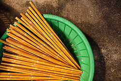 Chopsticks drying in a basket, Vietnam, Southeast Asia