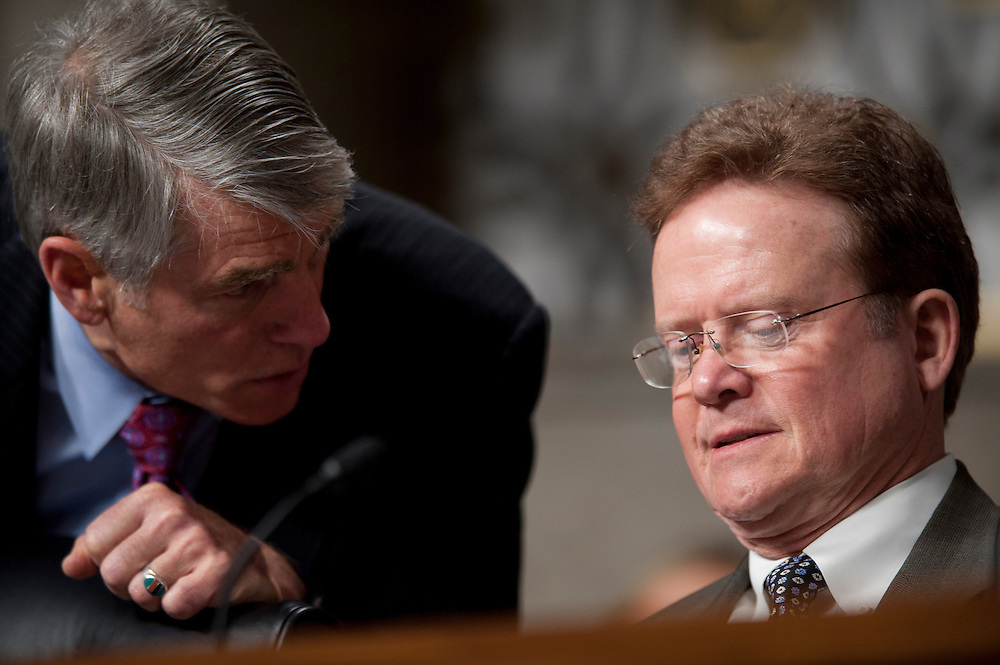 Feb 15, 2011 - Washington, District of Columbia, U.S. - Senators MARK UDALL (D-CO) and JIM WEBB (D-VA) confer during a  Senate Armed Services Committee Hearing on Defense Department Nominations. (Credit Image: © Pete Marovich/ZUMA Press)