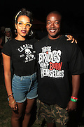 August 25, 2012-Brooklyn, NY: (L-R) Recording Artist Alice Smith and Chuck 'Jigsaw' Creekmur backstage at the Afropunk Festival 2012 held in Brooklyn, NY on August 25, 2012. The Afropunk Festival has become a Brooklyn intuition, the focal point for the burgeoning Afro-punk movement. Over the past seven years, the festival has presented new artists before they hit it big, such as Grammy-nominated Santigold, The Noisettes and Janelle Monae. Afro-punk mainstays like Saul Williams, The Dirtbombs, and Dallas Austin have also graced Afro-punk's stages. (Terrence Jennings/TerrenceJennings.com)