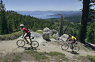 The 164-mile long Tahoe Rim Trail is nearing completion and will circumvent Lake Tahoe.  All but two miles are left to be done and much of the trail gets heavy use already.  A section of the trail from the Mt. Rose Highway south is a popular section for both hiking and mountain biking.  These riders were among a group from San Jose who came to ride the trail.