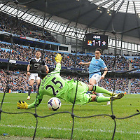 Football-Manchester City v Southampton-Barclays Premier League-Etihad Stadium-05/04/2014-Pictures by Paul Currie-KEEP-Manchester City's Samir Nasri scores his sides second goal against Southampton