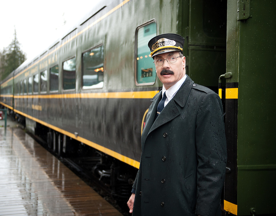 Polar Express conductor Rob Payette at the West Coast Railway Park.