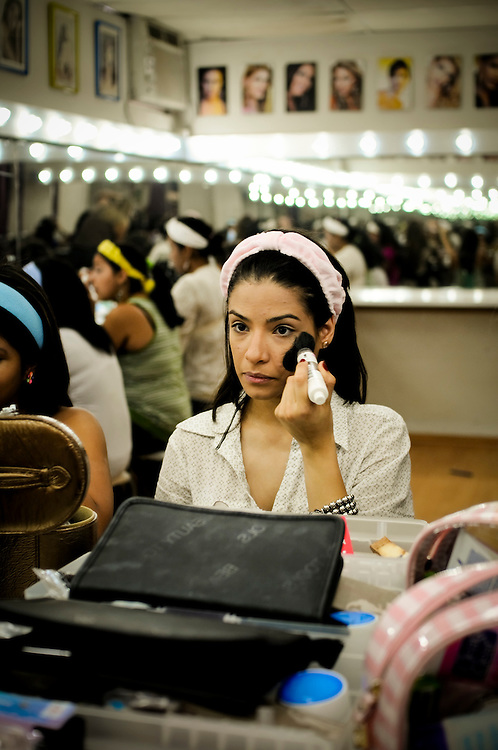 "Students attend ""Make-Up, Image and Fashion"" class at Gisselle's International Models school in Caracas, Venezuela..The majority of girls that attend the school dream of becoming future Miss Venezuelas or models..The school is highly acclaimed and run by former Miss Venezuela, Gisselle Reyes."