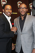 New York, NY-October 19:  l to r: Actor Lamman Rucker and Actor/Producer Tyler Perry(Honoree) at the 2nd Annual National Action Network's Triumph Awards in the Arts, Entertainment & Sports held at Jazz at Lincoln Center on October 19, 2011 in New York City.  Photo Credit: Terrence Jennings