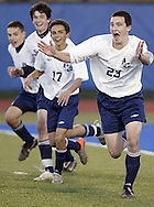 Niall Croke (23) of John S. Burke Catholic celebrates after scoring what turned out to be the winning goal in a 3-1 victory over Tuxedo in the Section 9 Class C championship game at Middletown's Faller Field on Tuesday, Nov. 2, 2010.