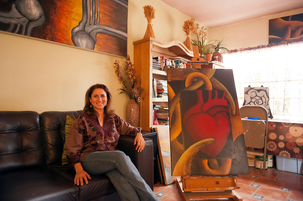 Artist Gladys Lopez Pe&ntilde;a also works as a psychological therapist in her studio in Matamoros, Tamaulipas, Mexico.<br /> <br /> &copy; Stefan Falke<br /> www.stefanfalke.com<br /> LA FRONTERA: Artists along the US Mexican Border