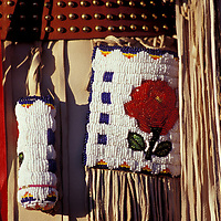 Womens dress, beadwork, North American Indian days, Browning, Blackfeet Indian Reservation, Montana, USA