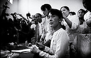 The National League of Democracy (NLD) head, Pro-democracy leader Aung San Suu Kyi registers to run in a by-election, for the  parliamentary seat in Kawhmu, in polls on April 1st, 2012. Thanlynn Electoral Commission Office, January 18, 2012....
