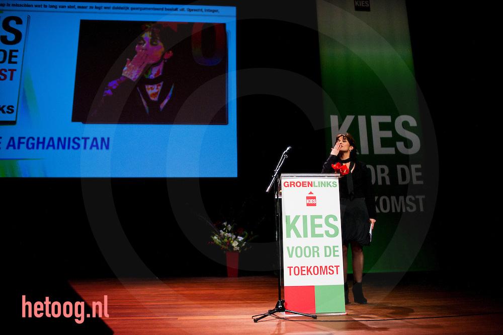 nederland, utrecht groenlinks congres 05feb2011 Jolande Sap fractie voorzitter GR LInks in de tweede Kamer spreekt het gr. links congres toe.