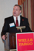 The Manhattan Chamber of Commerce Annual Economic Outlook Breakfast welcome was delivered by Joe Kirk, Regional President for Wells Fargo New York and Connecticut welcomes guests. The event was held at the New York Athletic Club in New York on April 4, 2011. The breakfast was sponsored by Wells Fargo.