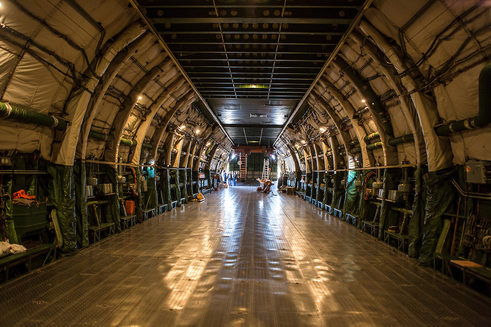GOSTOMEL, UKRAINE - OCTOBER 1, 2014: The cargo area of the Antonov AN-225, the longest and heaviest airplane ever built, as the plane is parked on an airfield in Gostomel, outside Kiev, Ukraine. CREDIT: Brendan Hoffman for The New York Times