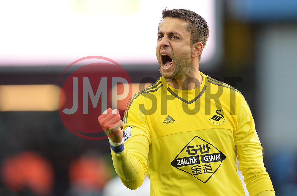 Lukas Fabianski of Swansea City celebrates at full time. - Mandatory byline: Alex James/JMP - 07966 386802 - 24/10/2015 - FOOTBALL - Villa Park - Birmingham, England - Aston Villa v Swansea City - Barclays Premier League