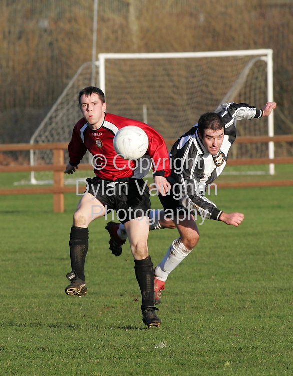6/1/2006.Pictured in action at the Nationalist Carlow League V Amateur Football League match in the Meadows, Carlow on Saturday was Nationalist Carlow League's Sean Kavanagh (right) and Amateur Football League's Brian Mulligan..Picture Dylan Vaughan.