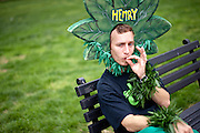 HENRY HEMP aka MAGIC ELLINGSON takes a break after speaking at a rally in Washington D.C. to legalize cannabis.  About 100 grassroots activists called Overgrow The Government, joined together for a protest march in Washington D.C. to demand an end to cannabis prohibition. The group marched from the Washington Monument to Lafayette Park behind the White House.