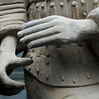 Asia, China, Shaanxi, Xian. Terra Cotta warrior hands, close up.
