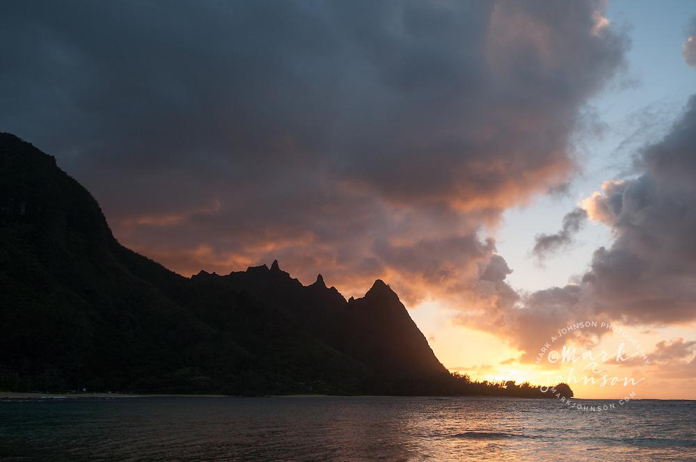 """""""Bali Hai"""" mountain ridge seen from Haena Beach, aka """"Tunnels Beach"""", Kauai, Hawaii"""