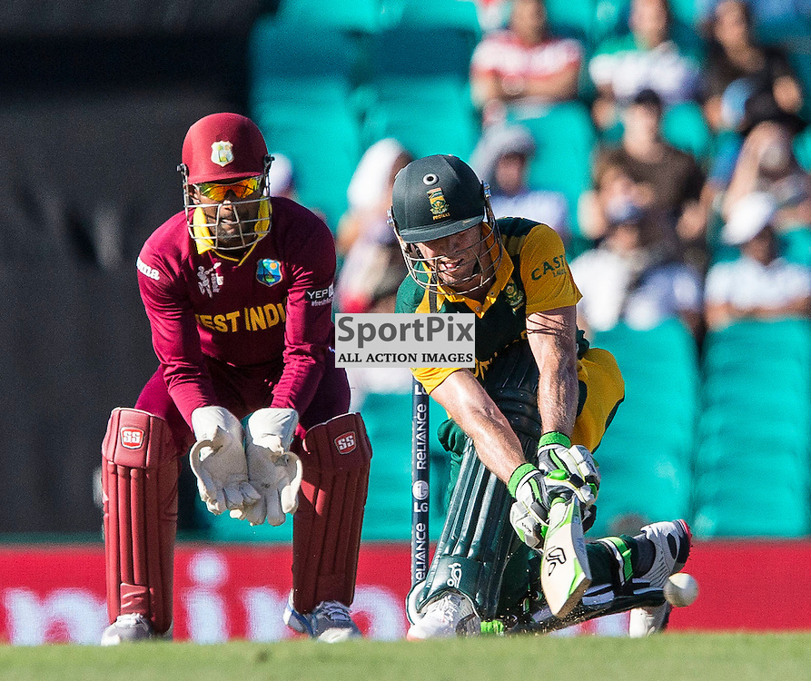 ICC Cricket World Cup 2015 Tournament Match, South Africa v West Indies, Sydney Cricket Ground; 27th February 2015<br /> South Africa&rsquo;s AB De Villiers sweeps