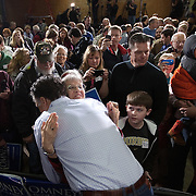 Former Gov. Mitt Romney (R-MA) greets a suporter following a rally Thursday, December 29, 2011, in Ames, IA...Photo by Khue Bui