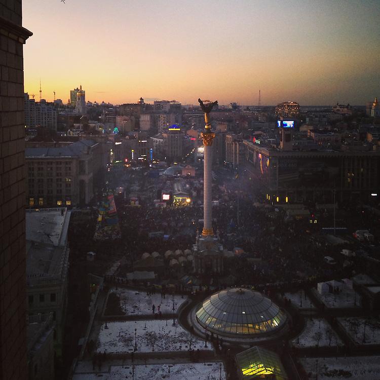 Sunset view of the #euromaidan from my room, Dec. 14, 2013. #kiev #ukraine #київ #україна #primecollective #євромайдан