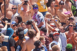 HUNTINGTON BEACH, California/USA (Sunday, August 8, 2010) - Brett Simpson reacts after winning two years in a row  US Open of Surfing.