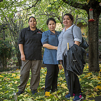 """We just got off work...we're  neighbors and friends...we've lived and worked in Calistoga for nearly 20 years...we love it here.""  -Hotel Housekeepers Andrea Hernandez, Maria Carrillo and Irene Parada near their homes in Calistoga"