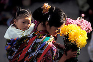 at the flower Market, Chichicastenago, Highlands, Guatemala, Central America