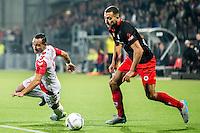 ROTTERDAM - SBV Excelsior - FC Utrecht , Voetbal , Eredivisie, Seizoen 2015/2016 , Stadion Woudestein , 03-10-2015 , Excelsior speler Adil Auassar (r) stuurt FC Utrecht speler Sean Klaiber (l) het bos in
