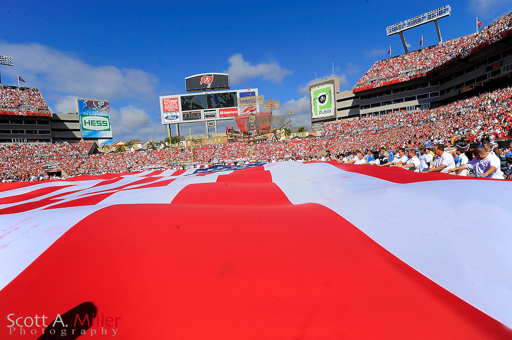 Dec. 21, 2008; Tampa, FL, USA; The National Anthem is played prior to the Tampa Bay Buccaneers-San Diego Chargers game at Raymond James Stadium. ©2008 Scott A. Miller