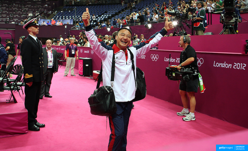 Liang Chow, coach of Gabrielle Douglas, USA,  after her Gold medal performance in the Women's Individual All Round competition during the artistic gymnastic competition at North Greenwich Arena during the London 2012 Olympic games London, UK. 2nd August 2012. Photo Tim Clayton