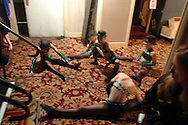 Dancers from the Stagedoor Dance Academy prepare to perform at the New York Dance Alliance's national competition finale July 10, 2005 in New York City. <br />