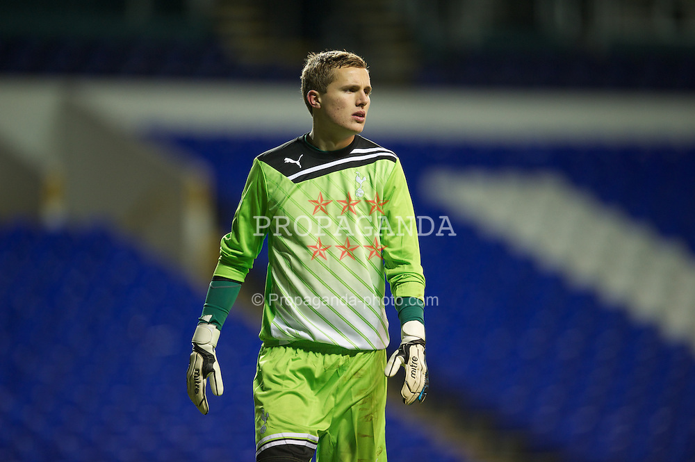 LONDON, ENGLAND - Wednesday, February 1, 2012: Tottenham Hotspur's goalkeeper Jonathan Miles in action against Liverpool during the NextGen Series Quarter-Final match at White Hart Lane. (Pic by David Rawcliffe/Propaganda)