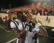 Mississippi linebacker Denzel Nkemdiche (4) celebrates with Mississippi defensive back Chief Brown (8) vs. Vanderbilt in Nashville, Tenn. on Thursday, August 29, 2013. Ole Miss won 39-35.