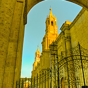 "South America, Paru, Andes, Areqippa, White City, Plaza de Armas. La Catedral in Plaza de Armas in lovely Arequipa, Peru, the ""White City""."