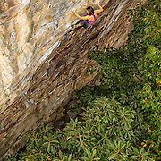 """Elaina Arenz  climbing """"Finders Keepers"""" 12c, at The Cirque, The New River Gorge"""