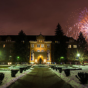 Fireworks are launched over College Hall during National Gonzaga Day. (Photo by Rajah Bose)