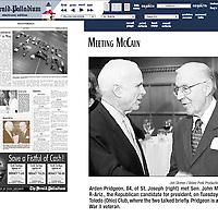 Pridgeon/McCain photo in Herald-Palladium newspaper.