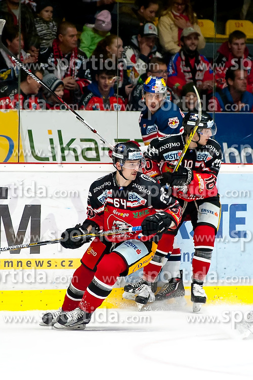 17.11.2015, Ice Rink, Znojmo, CZE, EBEL, HC Orli Znojmo vs EC Red Bull Salzburg, 21. Runde, im Bild v.l. Ondrej Sedivy (HC Orli Znojmo) Peter Hochkofler (EC Red Bull Salzburg ) David Bartos (HC Orli Znojmo) // during the Erste Bank Icehockey League 21th round match between HC Orli Znojmo and EC Red Bull Salzburg at the Ice Rink in Znojmo, Czech Republic on 2015/11/17. EXPA Pictures © 2015, PhotoCredit: EXPA/ Rostislav Pfeffer
