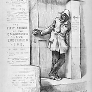 """THE FREEDMENS SAVINGS BANK """"Waiting, A debt that the Republican party ought to wipe out"""" Nast political cartoon on the 1879 Cover on race relations and abuse of blacks in the south  Harper's Weekly March 29, 1879 page politics, satire"""