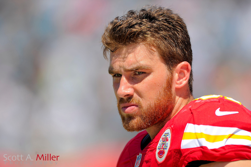 Kansas City Chiefs tight end Travis Kelce (87) on the sidelines with his helmet off during the Chiefs 28-2 win over the Jacksonville Jaguars at EverBank Field on Sept. 8, 2013 in Jacksonville, Florida. The <br /> <br /> &copy;2013 Scott A. Miller