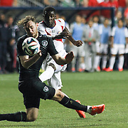 Costa Rica Forward Joel Campbell (9) attempts a shot as Republic of Ireland Defender Richard Keogh (4) defends  in the second half of the inaugural freedom cup between Ireland and Costa Rica Friday. June. 6, 2014 at PPL Park in Chester PA.
