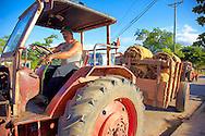 Tractor hauling cigar tobacco in Vinales, Pinar del Rio, Cuba.