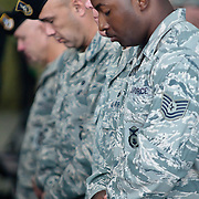 10/16/11 New Castle DE: Delaware Air National Guard members during a moment of silence for Senior Airman Aaron Rydell who was killed unexpectedly Saturday, Oct. 15, 2011. ..The event recognize the Airmen after they have completed missions in various locations in Southwest Asia, Europe, Afghanistan....The News Journal/SAQUAN STIMPSON