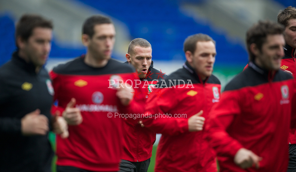CARDIFF, WALES - Monday, February 27, 2012: Wales' Craig Bellamy during a training session at the Cardiff City Stadium ahead of the friendly match against Costa Rica. (Pic by David Rawcliffe/Propaganda)