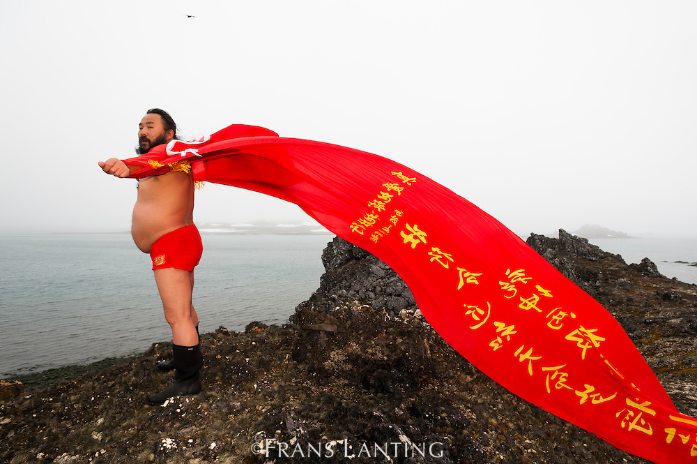 Chinese Tao master demonstrating for peace, Great Wall Station, King George Island, Antarctica