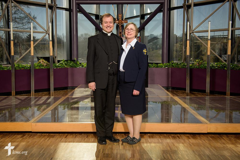 Portrait of the Rev. Jonathan Naumann and Deaconess Cheryl Naumann at the International Center chapel of The Lutheran Church–Missouri Synod on Monday, Feb. 29, 2016, in Kirkwood, Mo. LCMS Communications/Erik M. Lunsford