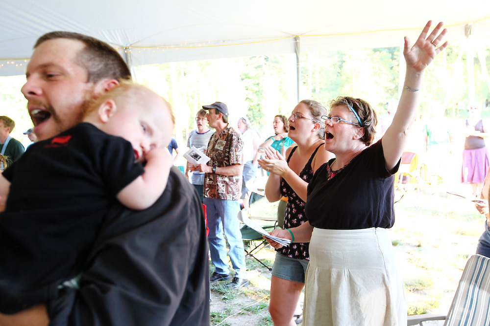 Festival attendees participate in the Bluegrass Liturgy at the Wild Goose Festival at Shakori Hills in North Carolina June 25, 2011.  (Photo by Courtney Perry)
